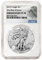 2019 S SILVER EAGLE ENHANCED REVERSE S$1 NGC PF70 FIRST DAY OF ISSUE 4671236-015