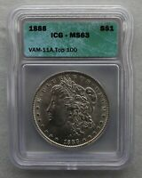 1888 P ICG GRADED MINT STATE 63  VAM 11A DOUBLED EAR, CLASHED OBVERSE