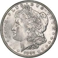 1891 MORGAN SILVER DOLLAR ABOUT UNCIRCULATED AU SEE PHOTOS C456