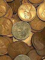 S MINT WHEAT CENT BAG1940'S- 1950'S  500 COUNT  W/1943 STEEL CENTS