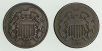 LOT  2  1868 TWO CENT PIECES  3211