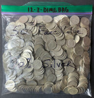 BAG OF 500 90  SILVER ROOSEVELT & MERCURY DIMES $50 FACE VAL