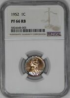 1952 PROOF LINCOLN WHEAT CENT PENNY 1C NGC CERTIFIED PF PR 66 RB 003