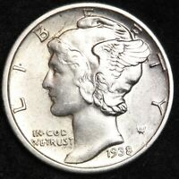 UNCIRCULATED 1938 D MERCURY SILVER DIME