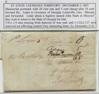 1807 ST LOUIS LOUISIANA TERRITORY STAMPLESS RE FUGITIVE 20C