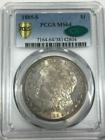 1885-S PCGS MINT STATE 64 CAC MORGAN SILVER DOLLAR LITE TONING MINT STATE 64 804