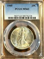 1945 50C WALKING LIBERTY SILVER HALF DOLLAR - REALLY  COIN PCGS GRADED MINT STATE 63