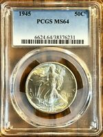 1945 50C WALKING LIBERTY SILVER HALF DOLLAR - GREAT COIN PCGS GRADED MINT STATE 64