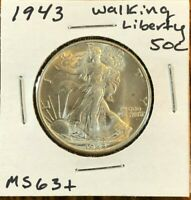 1943 50C WALKING LIBERTY SILVER HALF DOLLAR - BEAUTIFUL MINT STATE MS COIN