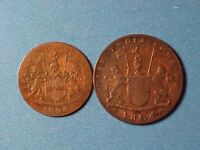 ISLAND OF SUMATRA 1 & 2 KEPING TOKENS 1804 NICE PAIR