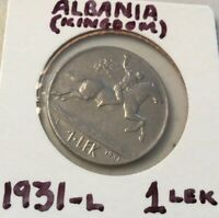 ALBANIA KINGDOM  1931 L 1 LEK CIRC. COIN DATE OR TYPE