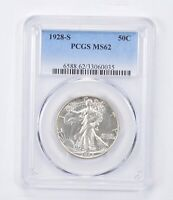 MINT STATE 62 1928-S WAKLING LIBERTY HALF DOLLAR - GRADED PCGS 1466