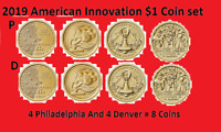 COMPLETE 2019 P & D AMERICAN INNOVATION DOLLAR 8 COIN SET   UNCIRCULATED ON HAND