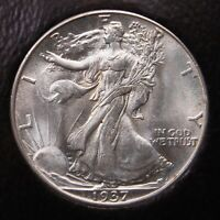 1937 D WALKING LIBERTY HALF DOLLAR ICG MINT STATE 64 PQ FOR THE GRADE AND LOOKS GEM