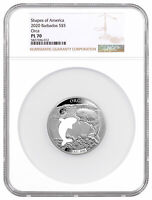 2020 BARBADOS SHAPES OF AMERICA CUT OUT HR 1 OZ SILVER PL ORCA NGC PL70 SKU60359