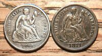 2 SEATED LIBERTY DIMES: 1860 F-109 RE-PUNCHED 86 R4 & 1871 F-111 R4 S.E. 400