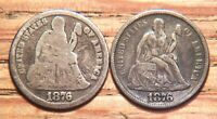2 SEATED LIBERTY DIMES: 1876 CC TOP 100 F-106A R6, 1876-S F-102 TYPE II REVERSE
