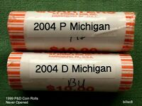 2004 MICHIGAN STATE QUARTERS P&D   2 NEVER OPENED BANK ROLLS