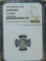 1837 SEATED HALF DIME H10C NGC AU DETAILS