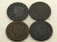 4 1820S LARGE CENTS CORONET 1820 1822 1827 1828 ESTATE FIND