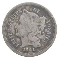 1881 NICKEL THREE CENT PIECE   CHARLES COIN COLLECTION  543