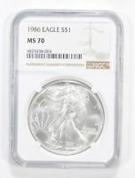 MS70 1986 AMERICAN SILVER EAGLE - GRADED NGC 5571