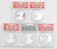 LOT OF 5 2011 $1.00 AMERICAN SILVER EAGLES - ANACS GRADED 2654