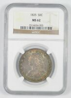 MINT STATE 62 1835 CAPPED BUST HALF DOLLAR - RAINBOW TONED - GRADED NGC 7295