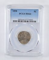 MINT STATE 64 1898 LIBERTY V NICKEL - GRADED PCGS 4164