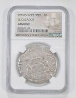 GENUINE 1766 SPANISH COLONIAL 8 REALES EL CAZADOR SHIPWRECK CERTIFIED NGC 5758