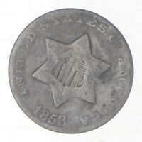 TRIME   1853 THREE CENT SILVER   3 CENT EARLY US COIN   LOO