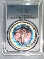 1993 SILVER EAGLE  PCGS MINT STATE 68 RAINBOW HALO TARGET TONING BEAUTIFUL BOTH SIDES
