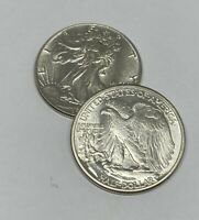 CHOICE AU   1942 WALKING LIBERTY HALF DOLLAR   90  SILVER   ALMOST UNCIRCULATED