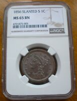1856 BRAIDED HAIR LARGE CENT GRADED NGC MINT STATE 65 GREAT COLOR AMAZING LUSTER