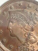 1853 BRAIDED HAIR LARGE CENT, PCGS MINT STATE 64RB, MINT STATE 64 RB, LOTS OF PICTURES, HIGH GRAD