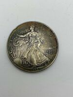 1993 SILVER EAGLE DOLLAR NEAR PERFECT UNCIRCULATED IRIDESCENT TONING