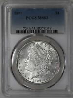 1897 MORGAN DOLLAR $1 PCGS CERTIFIED MINT STATE 63 MINT STATE 048