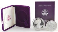 SET 1986 PROOF & UNC AMERICAN SILVER EAGLE 1 TROY OZ .999 BU - 2 COIN COLLECTION