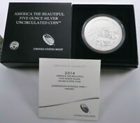 2014 P ATB FIVE OUNCE SILVER SHENANDOAH UNCIRCULATED COIN W/