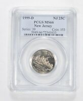 MS66 1999 D NEW JERSEY STATE QUARTER   GRADED PCGS  153