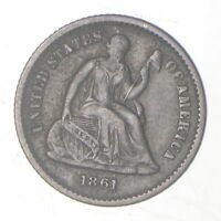 5C   1/2 DIME HALF   1861 SEATED LIBERTY HALF DIME EARLY AMERICAN TYPE COIN  364