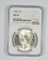 ALMOST PERFECT   MS 65 1923 PEACE SILVER DOLLAR   NGC GRADED