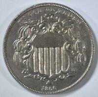 1866 RAYS SHIELD NICKEL BU