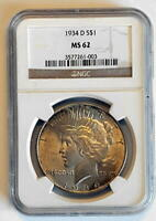 1934-D MINT STATE 62 NGC PEACE DOLLAR LUSTER & DETAILS