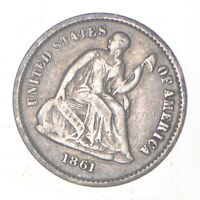 5C   1/2 DIME HALF   1861 SEATED LIBERTY HALF DIME EARLY AMERICAN TYPE COIN  372