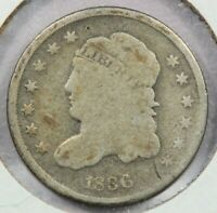 1836 CAPPED BUST HALF DIME SMALL 5C UNCERTIFIED