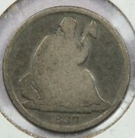 1837 LIBERTY SEATED HALF DIME SMALL DATE UNCERTIFIED