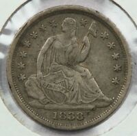 1838 NO DRAPERY LIBERTY SEATED HALF DIME EXTRA FINE  UNCERTIFIED