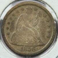 1856 LARGE DATE SEATED LIBERTY DIME UNCERTIFIED