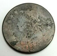 RAW 1812 CLASSIC HEAD 1C UNCERTIFIED CIRCULATED US MINT COPPER LARGE CENT COIN
